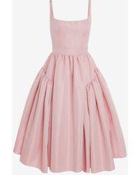 Alexander McQueen Pink Gathered Open Back Midi Dress