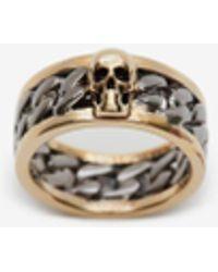 Alexander McQueen Skull Chain Ring - メタリック