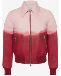 Alexander McQueen Pink Dip Dye Leather Printed Bomber Jacket