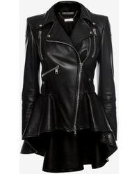 Alexander McQueen Leather Biker Jacket - ブラック