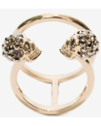 Alexander McQueen Gold Twin Skull Double Ring - Metallic
