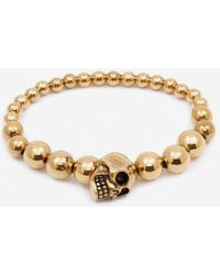 Alexander McQueen Perlenbesetztes Skull-Armband - Mettallic