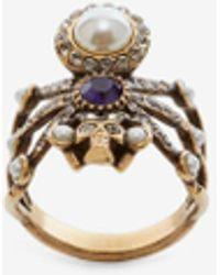 Alexander McQueen Gold Spider Ring - Metallic