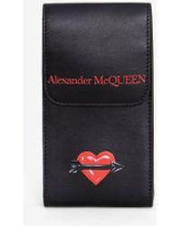 Alexander McQueen Custodia per Smartphone con Stampa Cuore - Nero
