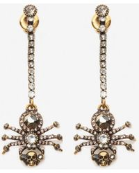 Alexander McQueen Boucles d'oreilles chaîne avec détail Spider à pavés - Métallisé
