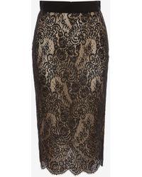 Alexander McQueen - Lace Pencil Skirt - Lyst