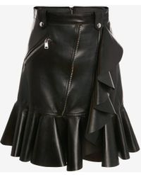 Alexander McQueen - Leather Mini Skirt With Ruffle Detail - Lyst