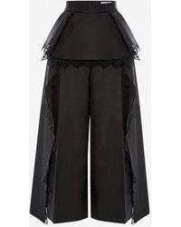Alexander McQueen Peplum Lace Wide Leg Pant - Black