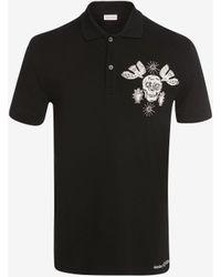 Alexander McQueen ペーパーカット スカル 刺繍入りポロシャツ - ブラック