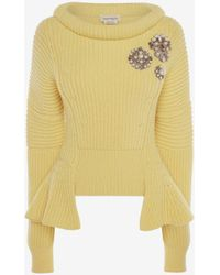 Alexander McQueen - Yellow Embroidered Knit Jumper - Lyst