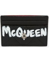 Alexander McQueen Porte-cartes à graffiti mcqueen - Noir
