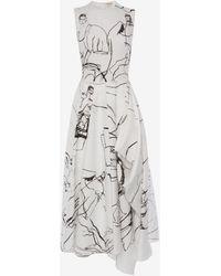 Alexander McQueen Dancing Girls Asymmetric Midi Dress - Multicolor