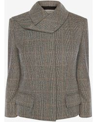 Alexander McQueen - Scarf Neck Distressed Prince Of Wales Jacket - Lyst