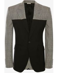 Alexander McQueen Spliced Prince Of Wales Jacket - ブラック