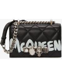 Alexander McQueen Black Mini Jeweled Satchel