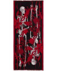 Alexander McQueen Étole Skeleton avec motif floral - Rouge