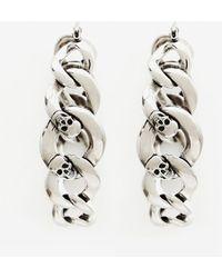 Alexander McQueen Chain And Skull Hoop Earring - メタリック
