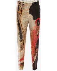 Alexander McQueen Hose mit Henry Moore Print - Rot