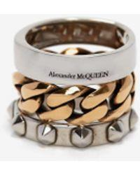 Alexander McQueen - パンク チェーン&スタッド ダブルリング - Lyst