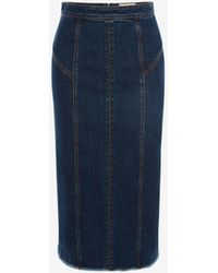 Alexander McQueen キックバック デニム ペンシルスカート - ブルー