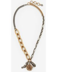 Alexander McQueen Collier à chaîne long avec médaillons - Métallisé