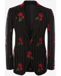 Alexander McQueen Rose Pinstripe Jacket - Black