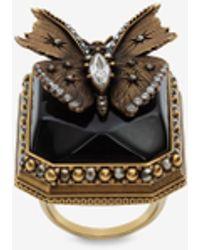 Alexander McQueen Gold Butterfly Ring - Metallic
