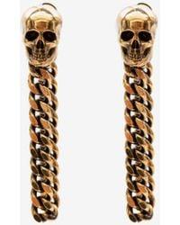 Alexander McQueen Skull Charm Chain Earrings - メタリック