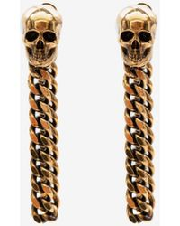Alexander McQueen - Gold Skull Charm Chain Earrings - Lyst