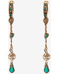 Alexander McQueen Gold Seal Signature Drop Earrings - Metallic
