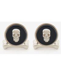 Alexander McQueen Manschettenknöpfe mit Skull aus Stein - Schwarz
