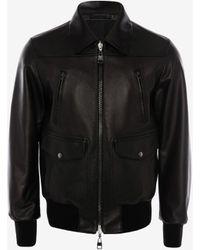 Alexander McQueen Reversible Leather Bomber Jacket - ブラック