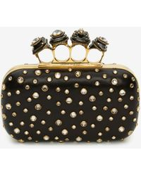 Alexander McQueen Spider Jeweled Four Ring Box Clutch - Black