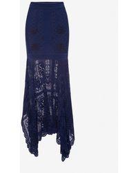 Alexander McQueen Patchwork Lace Knitted Skirt - Blue