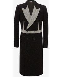 Alexander McQueen Black Donegal Tweed Double Breasted Coat