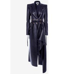 Alexander McQueen Eyelet Leather Coat - Blue