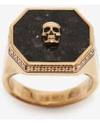 Alexander McQueen Siegelring mit Skull-Detail - Mettallic