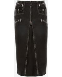 Alexander McQueen Black Leather Biker Skirt