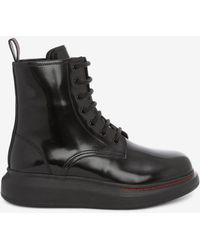 Alexander McQueen Hybrid Lace Up Boot - Black