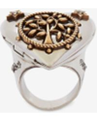 Alexander McQueen Ring mit Herzmedaillon - Mehrfarbig