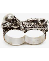 Alexander McQueen Silver Skull And Snake Double Ring - Metallic