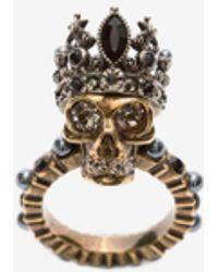 Alexander McQueen Gold King Skull Ring - Metallic