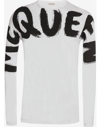 Alexander McQueen Mcqueen Graffiti Long Sleeve T-shirt - ホワイト