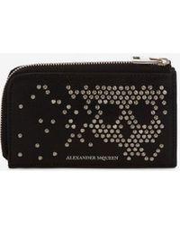 Alexander McQueen Studded Zip Coin Card Holder - Black