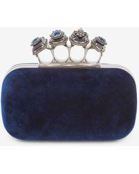 Alexander McQueen Jewelled Four-ring Velvet Clutch Bag - Blue