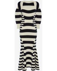 Alexander McQueen - Patchwork Stipe Knitted Dress - Lyst