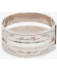 Alexander McQueen Silver Cut-out Engraved Cuff - Metallic