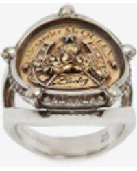 Alexander McQueen Lucky Medallion Ring - メタリック