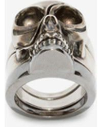 Alexander McQueen Divided Skull Ring - Metallic