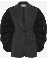 Alexander McQueen Exploded Parka Sleeves Tailored Jacket - グレー